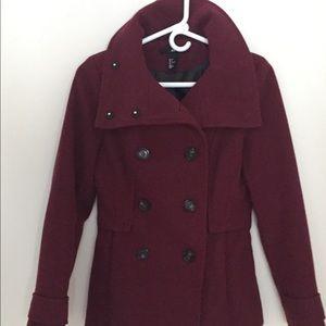 H&M Burgundy Pea Coat